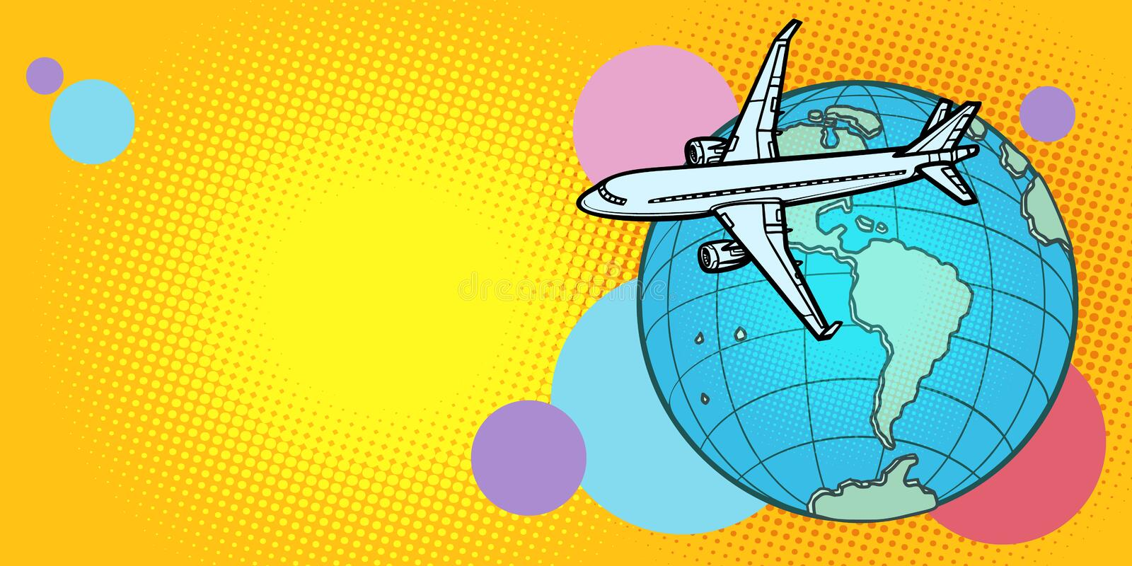 Plane flies over globe America passenger aviation. Comic cartoon pop art vector retro vintage drawing royalty free illustration