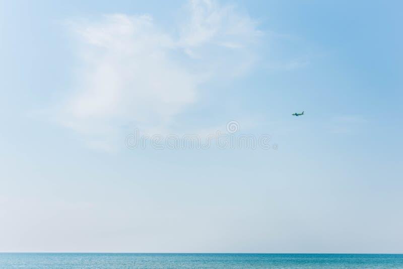 Aircraft over the sea royalty free stock photos