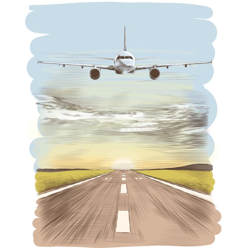 Aircraft on the runway. The plane flies in the sky next to the runway landing strip, sketch vector graphics color picture royalty free illustration