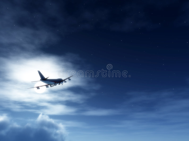 Download Plane In Flight At Night 2 stock photo. Image of moonnight - 3849196