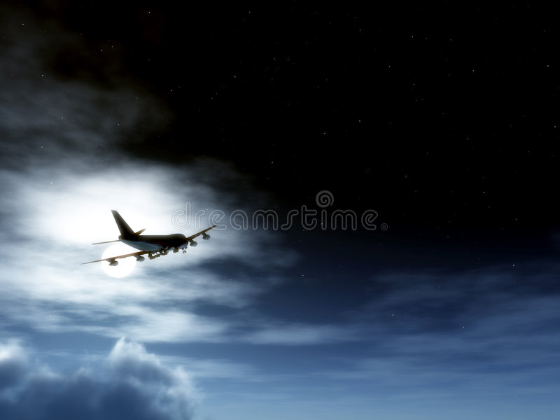 Download Plane In Flight At Night stock photo. Image of travel - 3849200
