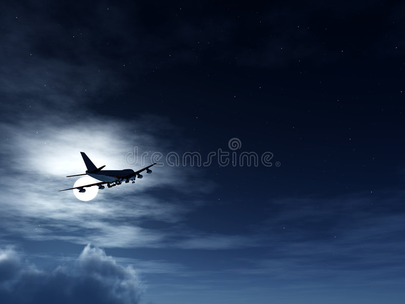 Download Plane In Flight At Night stock photo. Image of aircraft - 3849202