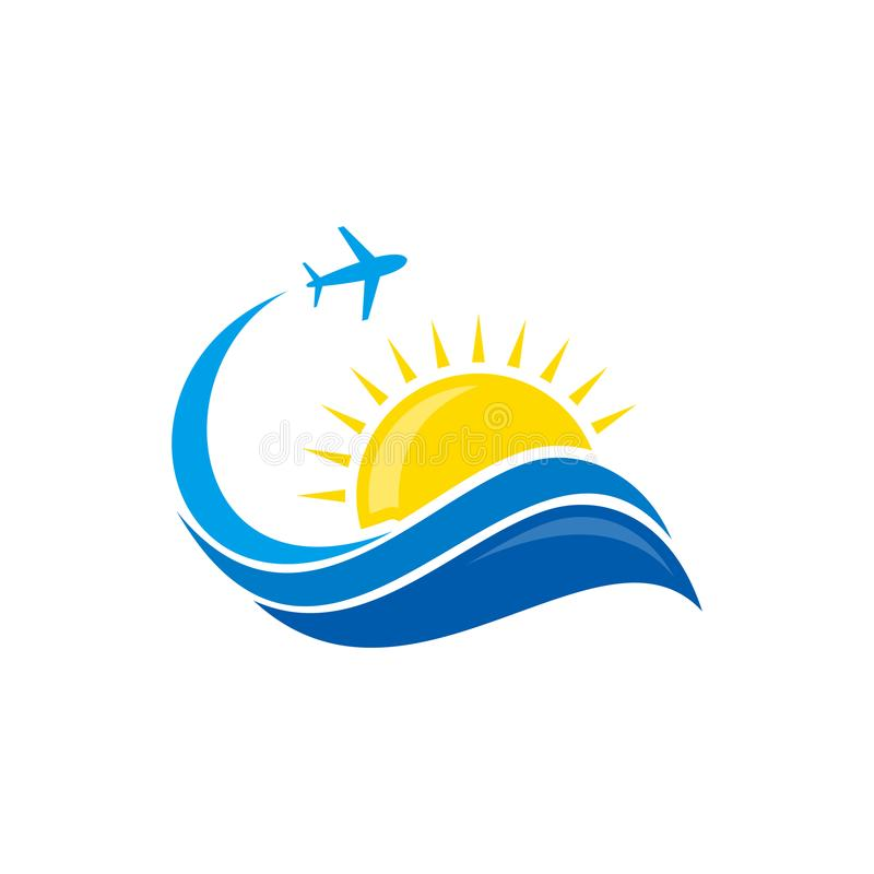 Plane flight summer business travel design vector icon emblem. Speed travel vector logo template. Vector illustration EPS.8 EPS.10 vector illustration
