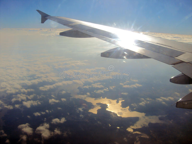 The plane flying royalty free stock photography