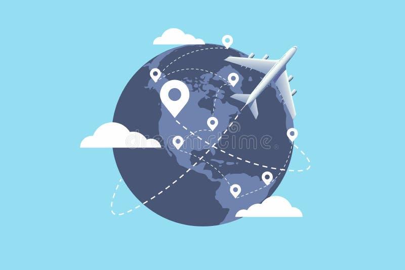 Plane flying around the world. Travel planning. travel concept. Vector illustration stock illustration