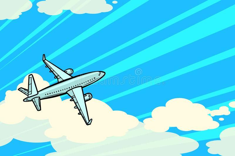 The plane is flying in the clouds. air transport aviation. Comic cartoon pop art illustration vintage vector drawing stock illustration