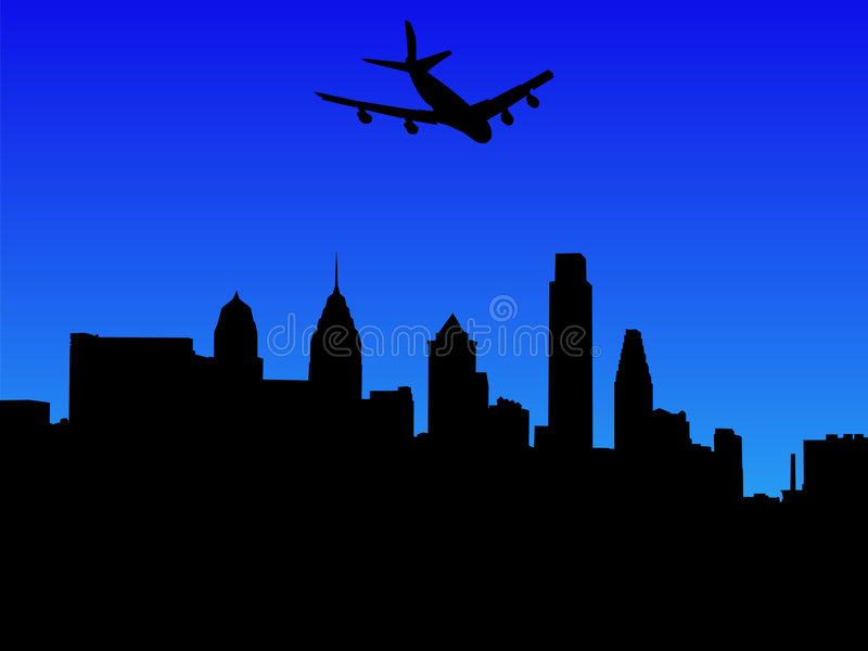 Plane flying over Philadelphia vector illustration