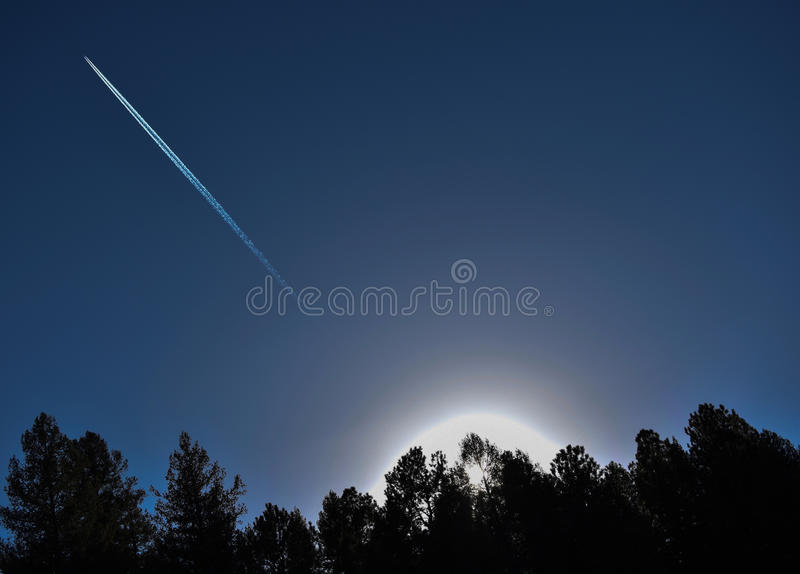 Plane Flying Through The Sky royalty free stock image