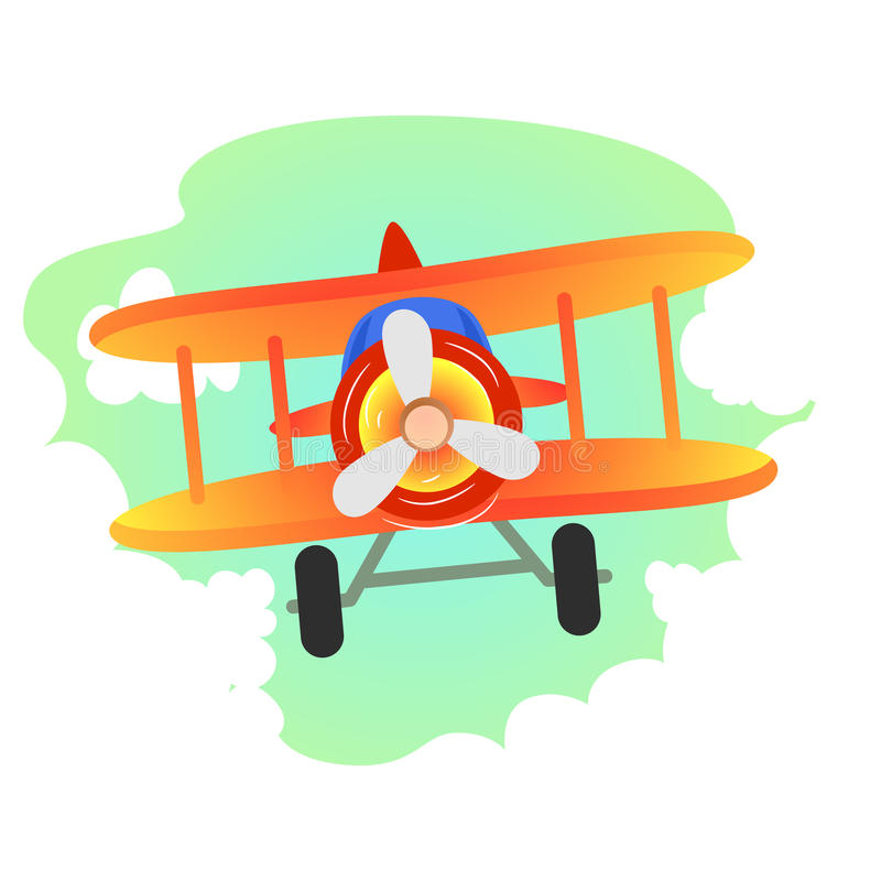 Plane Flying in the sky stock illustration