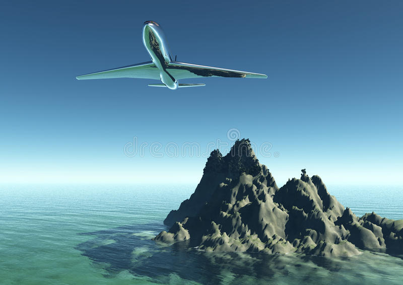 Download Plane Flying Into A Tourist Destination Stock Illustration - Illustration: 20567913