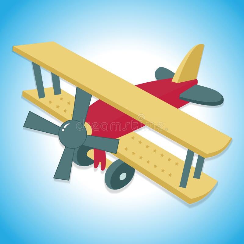 Plane. Flying vintage plane or biplane with blue background stock illustration