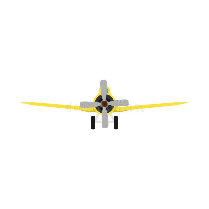 Plane front view vector aircraft transportation  illustration. Fly travel journey propeller vehicle. Engine departure royalty free illustration