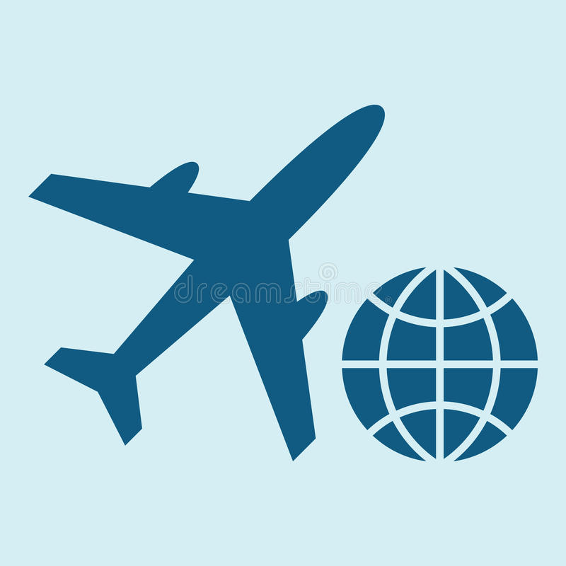 Plane and globe icons vector illustration