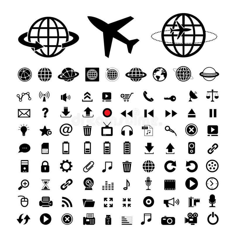 Plane and globe vector icons. Set royalty free illustration