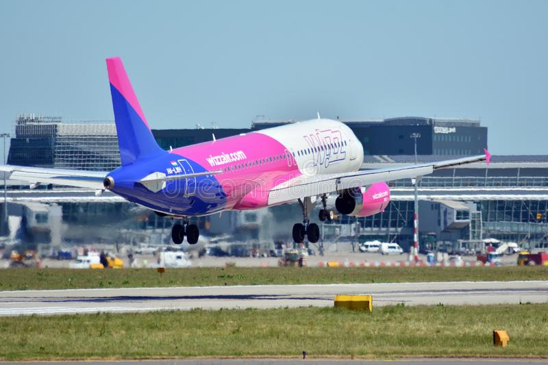Plane HA-LWH - Airbus A320-232 - Wizz Air just before landing at the Chopin airport. Warsaw, Poland. 8 June 2018. Plane HA-LWH - Airbus A320-232 - Wizz Air just stock photo