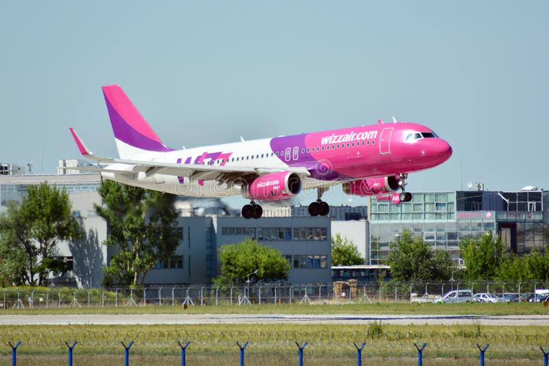 Plane HA-LYD - Airbus A320-232 - Wizz Air just before landing at the Chopin airport. Warsaw, Poland. 8 June 2018. Plane HA-LYD - Airbus A320-232 - Wizz Air just stock photo