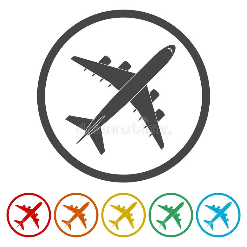 Plane Icon Airplane Symbol 6 Colors Included Stock Vector