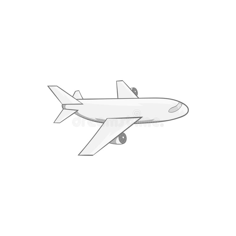 Plane icon, black monochrome style. Plane icon in black monochrome style isolated on white background. Air symbol vector illustration stock illustration