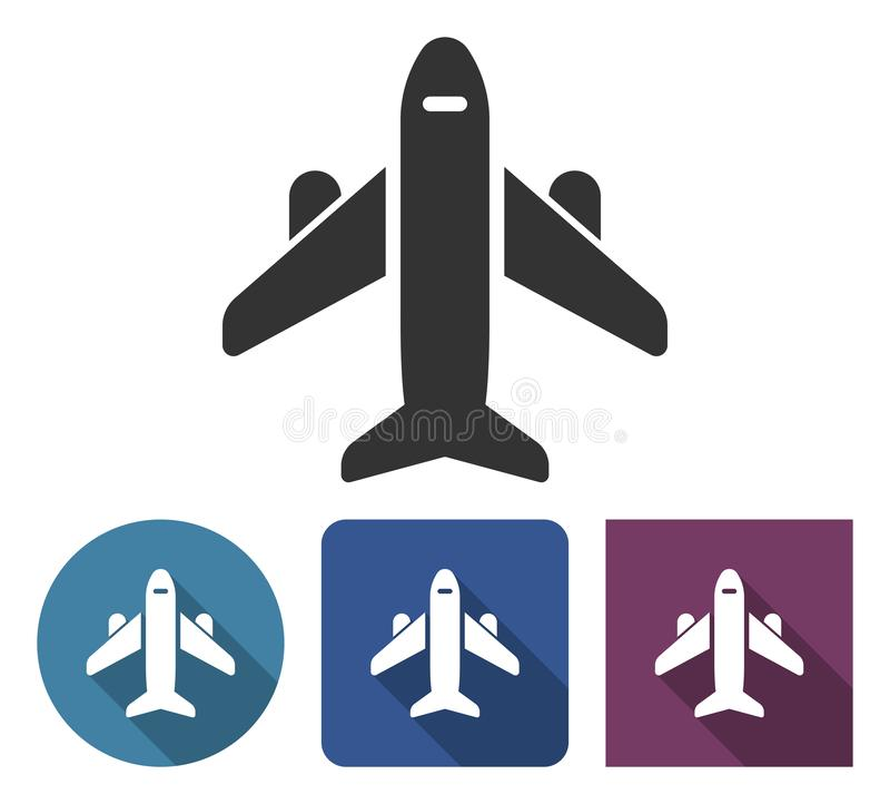 Plane icon in different variants royalty free illustration