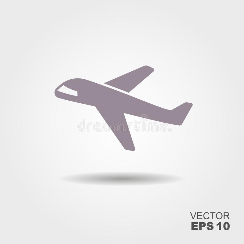 Plane icon in flat design style royalty free illustration