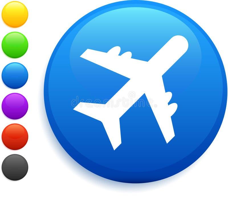 Plane Icon On Round Internet Button Stock Illustration