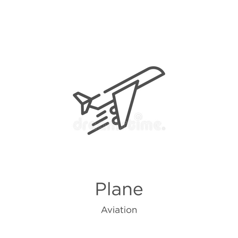 Plane icon vector from aviation collection. Thin line plane outline icon vector illustration. Outline, thin line plane icon for. Plane icon. Element of aviation stock illustration