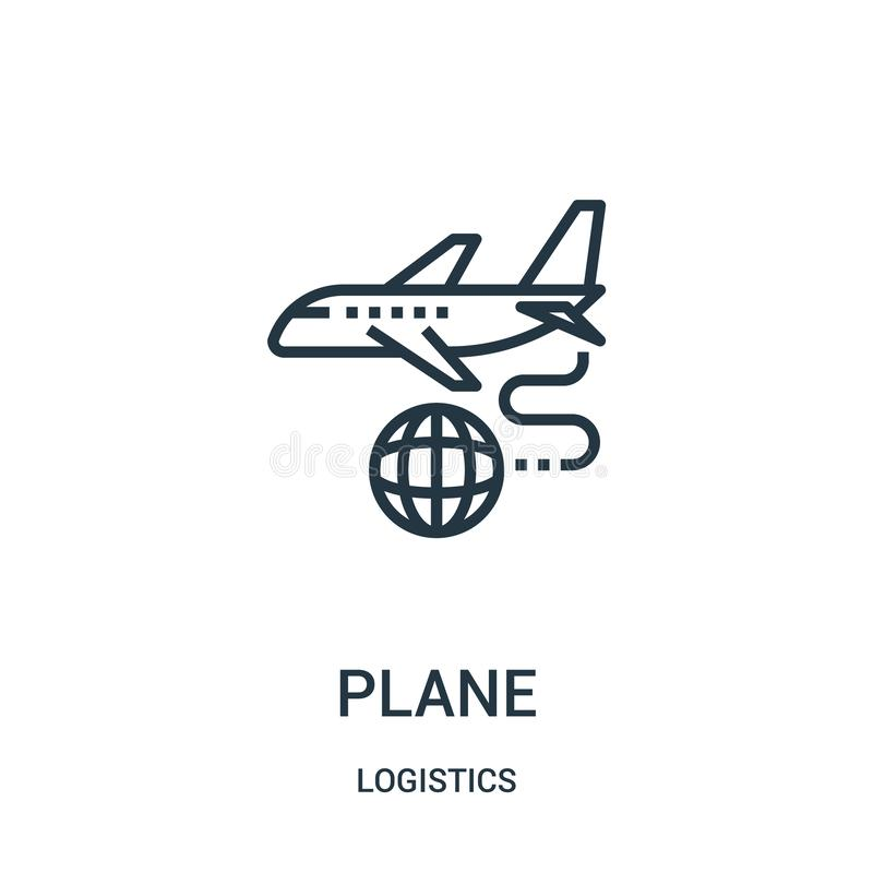 plane icon vector from logistics collection. Thin line plane outline icon vector illustration. Linear symbol for use on web and royalty free illustration