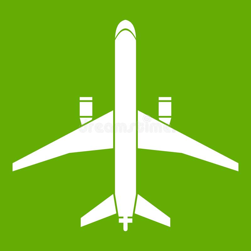 Plane icon green. Plane icon white isolated on green background. Vector illustration vector illustration