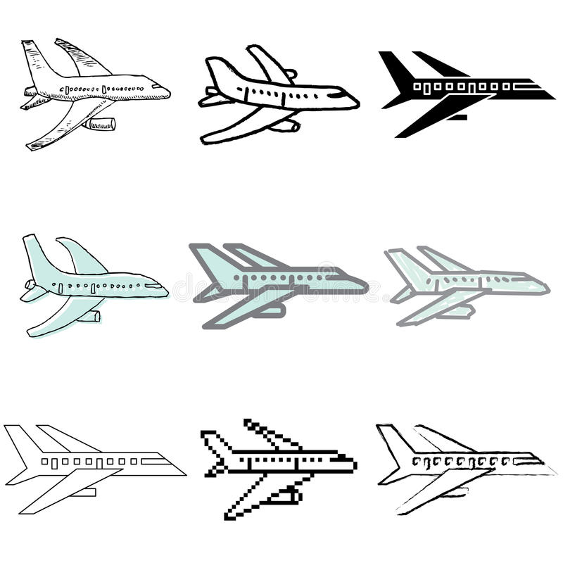 Download Plane icons set stock vector. Image of airport, pictogram - 23873345