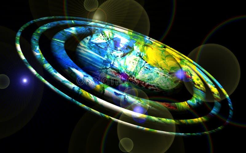 Plane. Illuminated vivid planet, stars, night, lights, moon, abstract background royalty free illustration