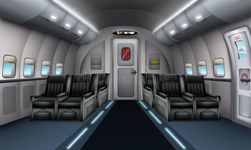 Plane interior. Illustration of a plane interior with emergency exit royalty free illustration