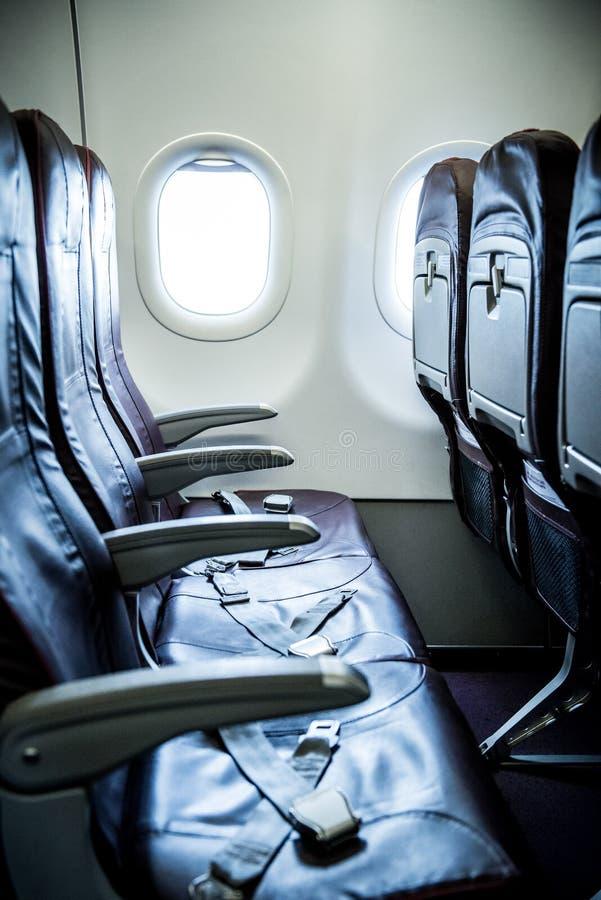 Plane interior seats. View plane interior empty seats royalty free stock photography