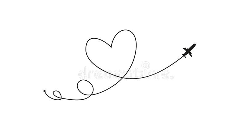 Plane and its track in the shape of a heart on white background. Vector illustration. Aircraft flight path and its route stock illustration