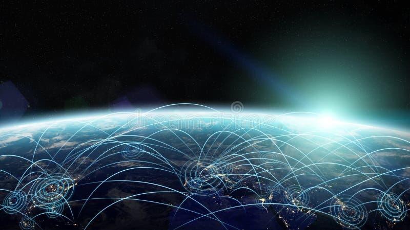 Plane journey between countries of the world 3D rendering elemen stock illustration