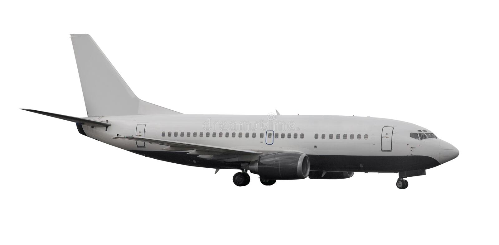 Plane with landing gears isolated on white stock image