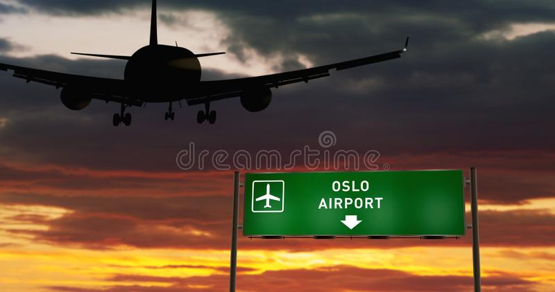 Plane landing in Oslo with signboard. Airplane silhouette landing in Oslo, Norway. City arrival with airport direction signboard and sunset in background. Trip royalty free illustration