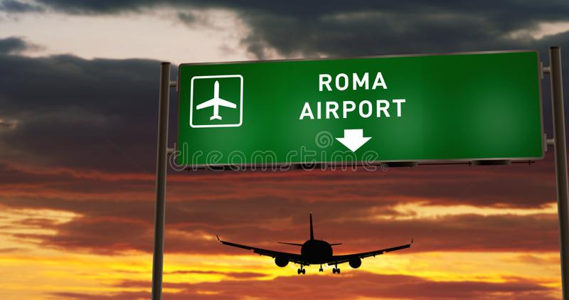 Plane landing in Roma with signboard stock illustration