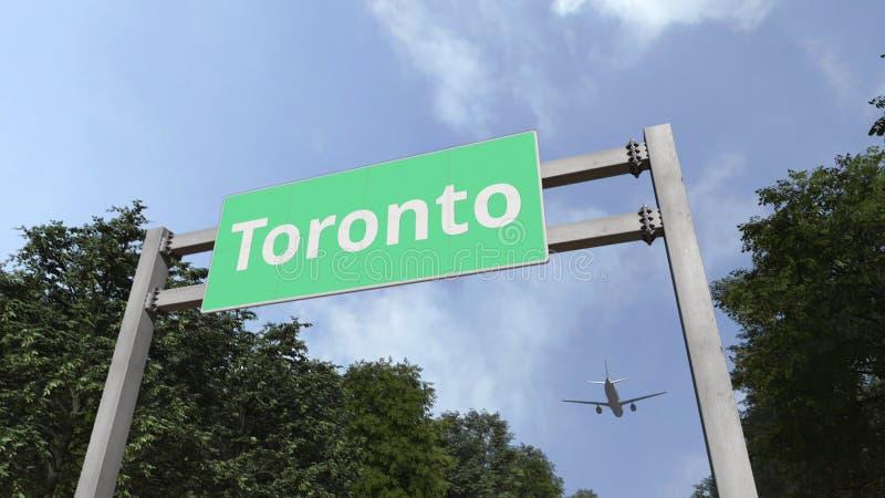 Plane landing in Toronto, Canada. 3D rendering. Airliner landing in the city. 3D vector illustration