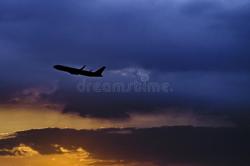 Plane Leaving City, Guayaquil, Ecuador royalty free stock photography