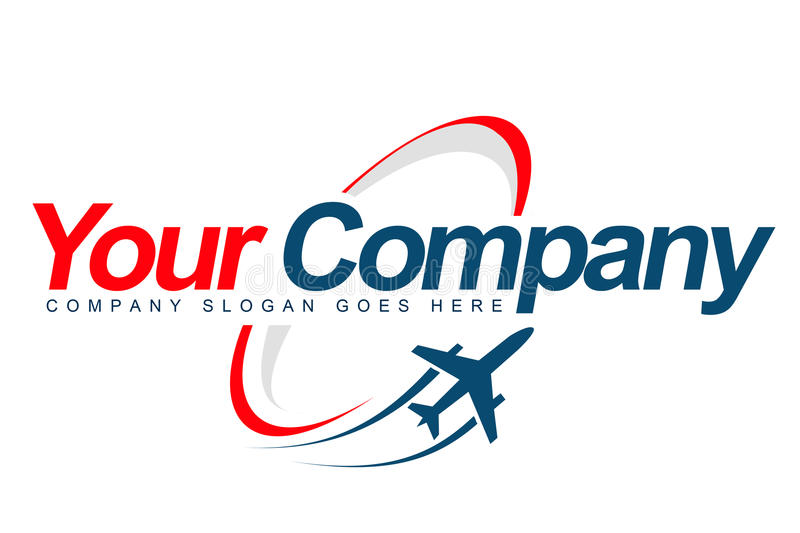 Plane Logo. An illustration of a logo representing a plane taking off with trails and oval shape arround company name