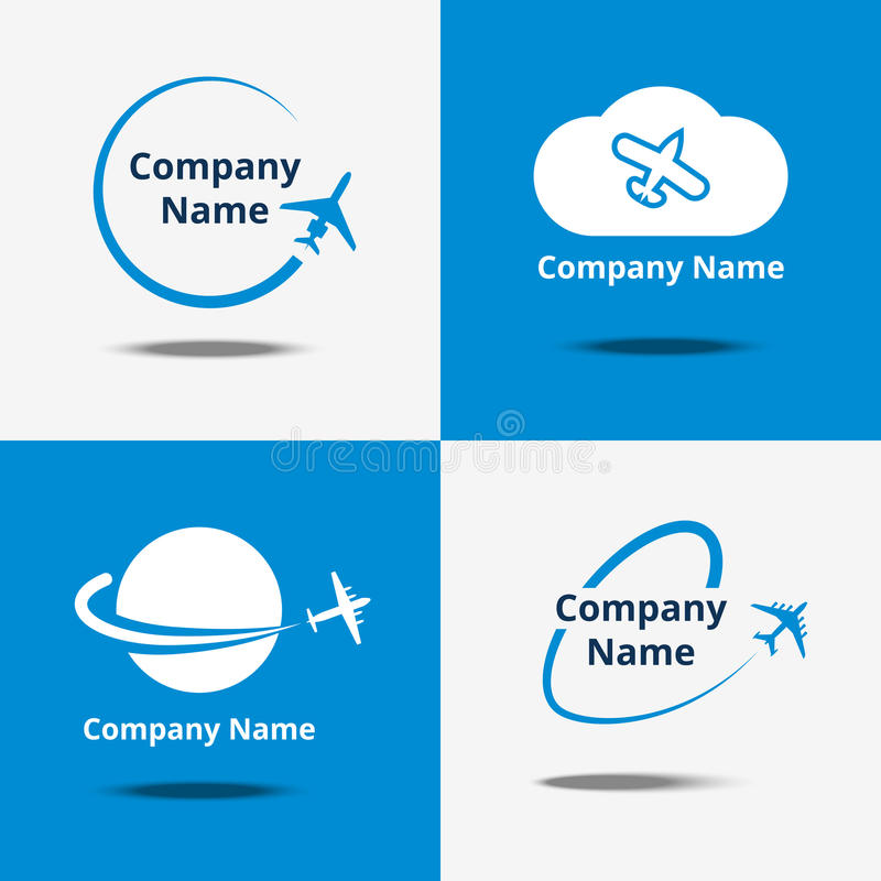 Plane logo set. Vector air travel logos or flight airplane travelling signs with blue background royalty free illustration