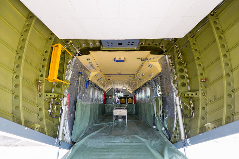The plane made artificial rain stock photos