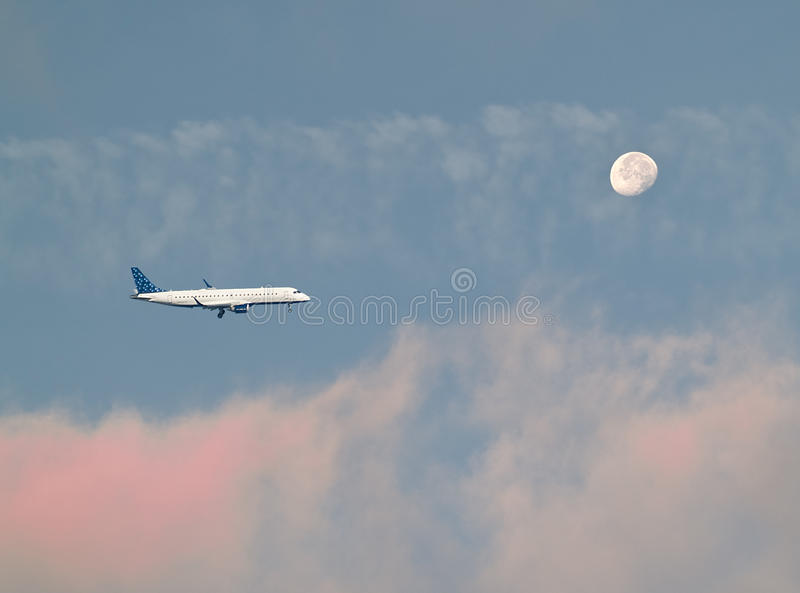 Download Plane and moon stock photo. Image of early, craters, morning - 16673020