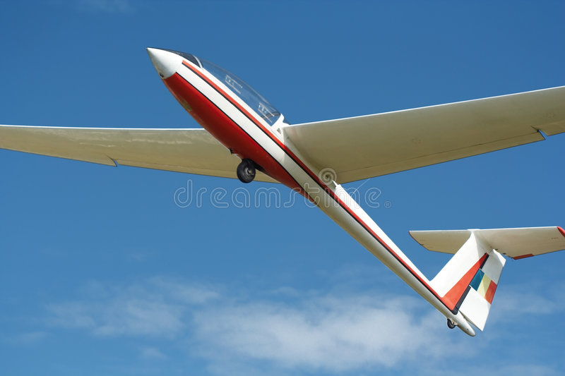 Plane with no engine. Silent flight with a plane with no engine stock photography
