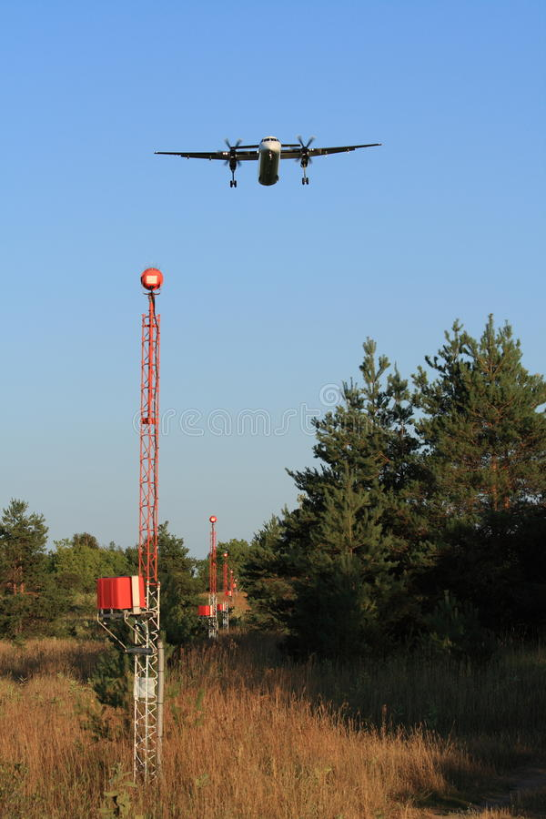 Download Plane Over Approach Lighting System Stock Image - Image: 26050505