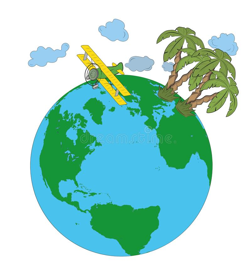 Plane over the Earth with palm trees. concept of recreation. vector illustration. Plane over the Earth with palm trees. concept of recreation. vector vector illustration