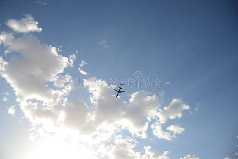 Plane over Phoenix. royalty free stock image