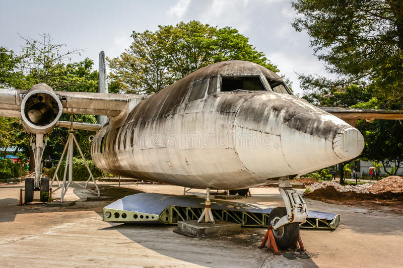 Old plane is landed in the Park to study closely, Yangon, Myanmar, April-2017 stock photo