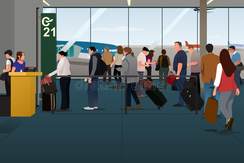 Plane Passengers Boarding the Plane on the Departure Gate. A vector illustration of Plane Passengers Boarding the Plane on the Departure Gate vector illustration