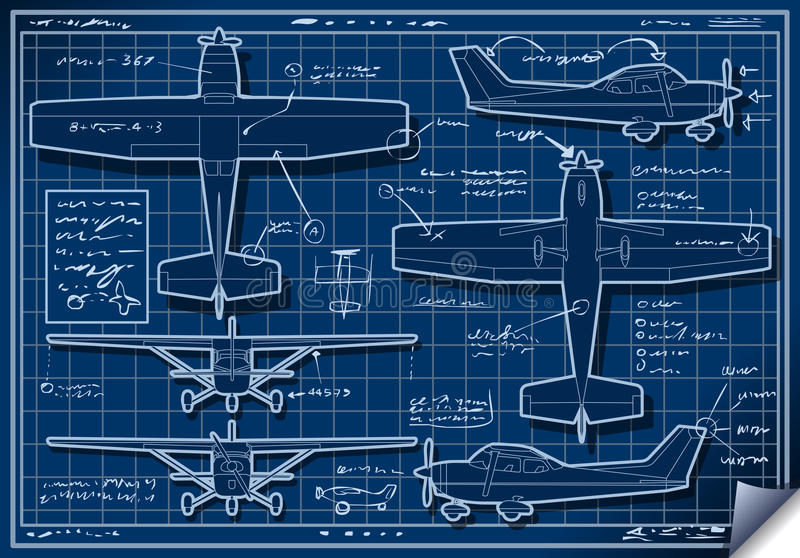 Plane Project in Five Orthogonal Views royalty free illustration